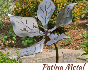 patina metal flower by artist, designer and inventor John Czegledi