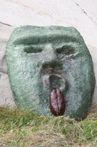 a whimsical concrete face created by Comox valley based artist, invetor and craftsman John Czegledi