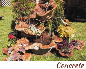 concrete vessels as a bird  bath by concrete finisher, artist, designer and inventor John Czegledi