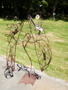 a patina metal abstract piece of sculpture art by Courtenay BC based artist and designer John Czegledi