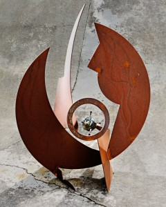 patina metal abstract art sculpture by artist, desgner and inventor John Czegledi