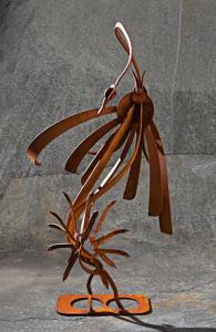 patina metal heron sculpture by artist, designer and inventor John Czegledi