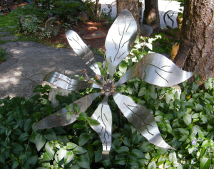a stainless metal flower by artist and inventor John Czegledi