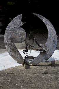 a stainless metal abstract sculpture by artist and inventor John Czegledi