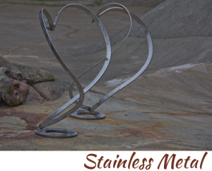 stainless metal heart sculpture by artist, designer and inventor John Czegledi