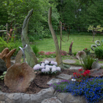 John Czegledi's garden displaying some of his uniques art pieces
