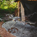 Original art metal and concrete sculpture by artist and designer John Czegledi Courtenay BC